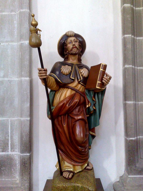 Allgegenwärtig damit nicht vergessen wird, wo man sich gerade befindet: Jakobus der Ältere. Hier in der Klosterkirche von Samos.