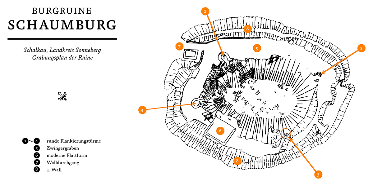 Nachzeichnung des Grabungsplan der Burgruine Schaumburg bei Schalkau. © Sven Becker