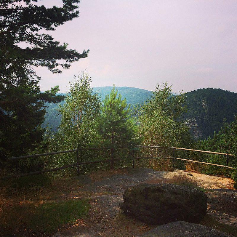 An der Oybin Aussicht: Das nächste Mal schlagen wir die Sicht frei! Nur ganz schwach schimmert der Oybin durch die Bäume hindurch.