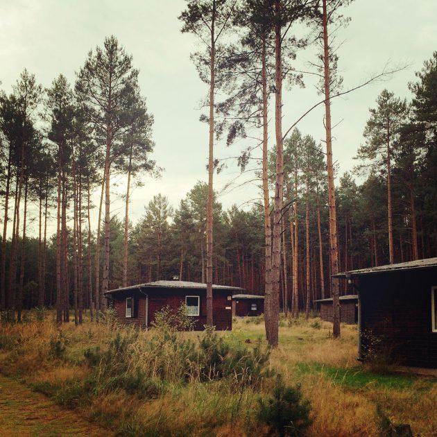 Verstreut wie Maulwurfshügel liegen die Hütten im Schutz der Bäume