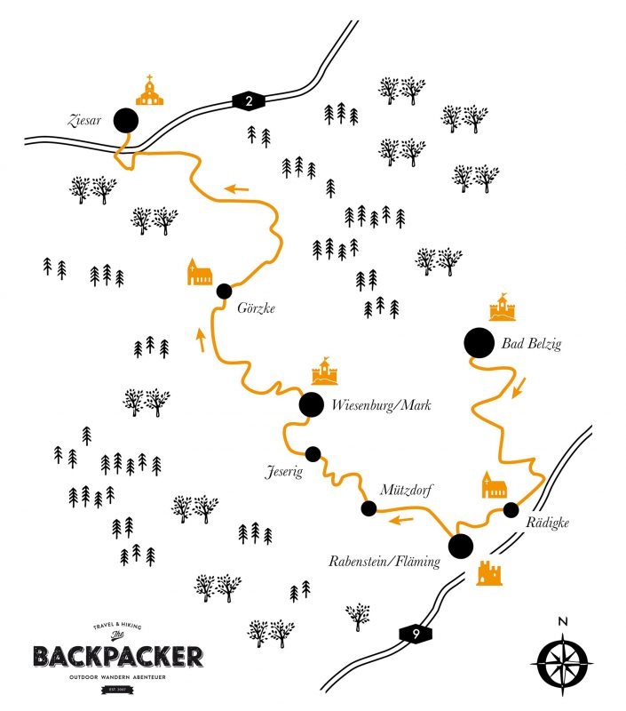 Knapp 90 Kilometer führt das Teilstück des Burgenwanderwegs durch den Nationalpark Hoher Fläming.