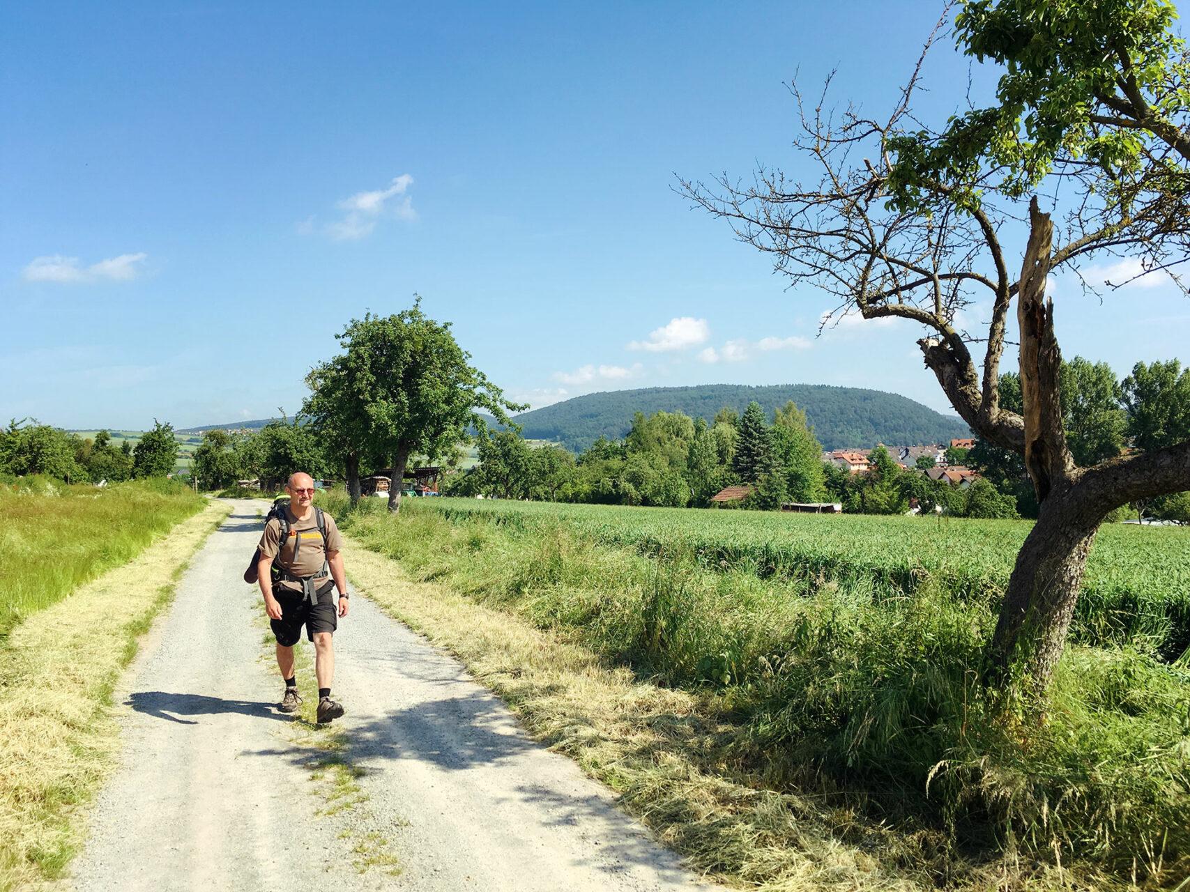 Hinter Eschau geht es erst einmal über Wiesen und Acker bevor es bei Mönchberg wieder in die Wälder geht.