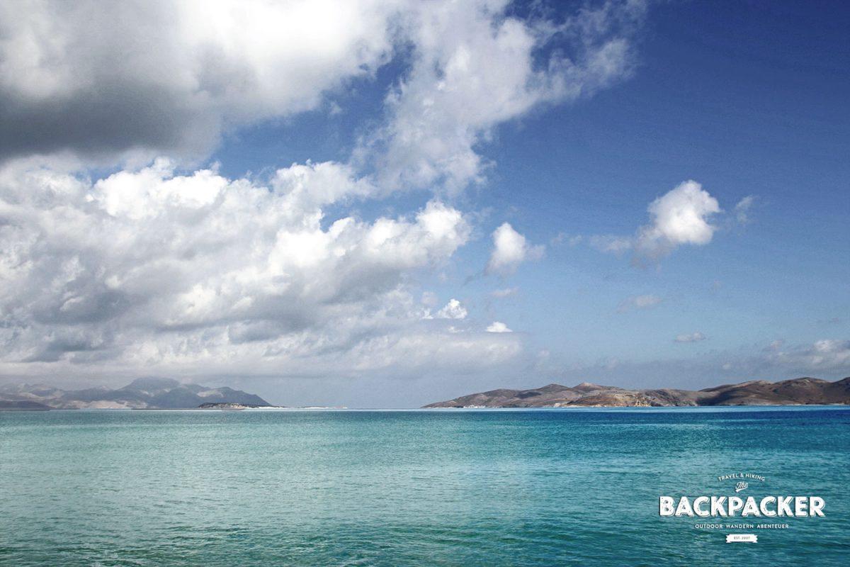 Vom Strand von Marmari aus erkennt man bei guter Sicht die Nachbarinseln Kalymnos und Pserimos.