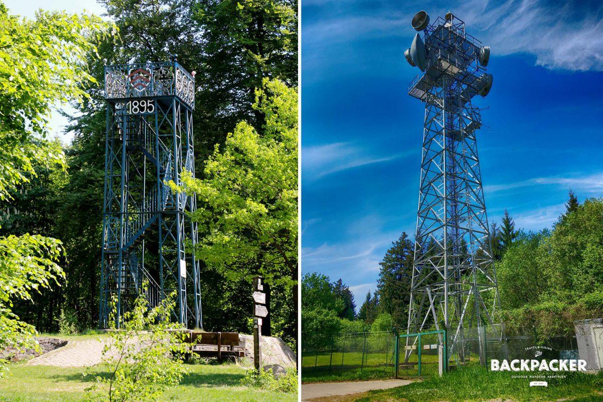 Links der Eiserne Anton von 1895, bei Besteigung ein Aussichtsturm – rechts der Stählerne Oscar, unbesteigbar. Dafür sorgt letzterer für fast grenzenlosen Funk- und Fernsehempfang. Auch schön.