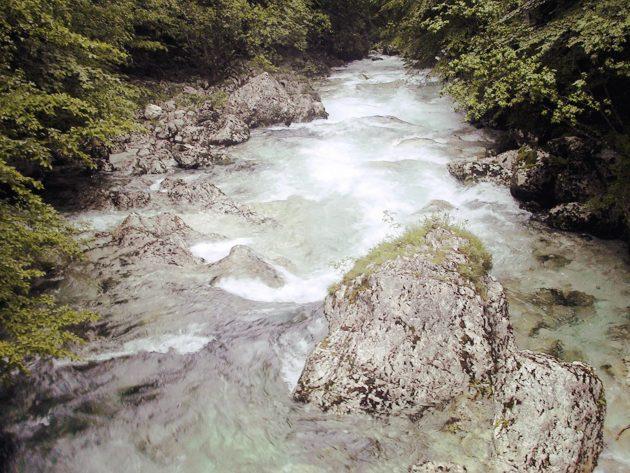 Der Savici-Fluss: aufgrund des Regens der letzten Tage ein strömender, sonst eher ein plätschender Bach.