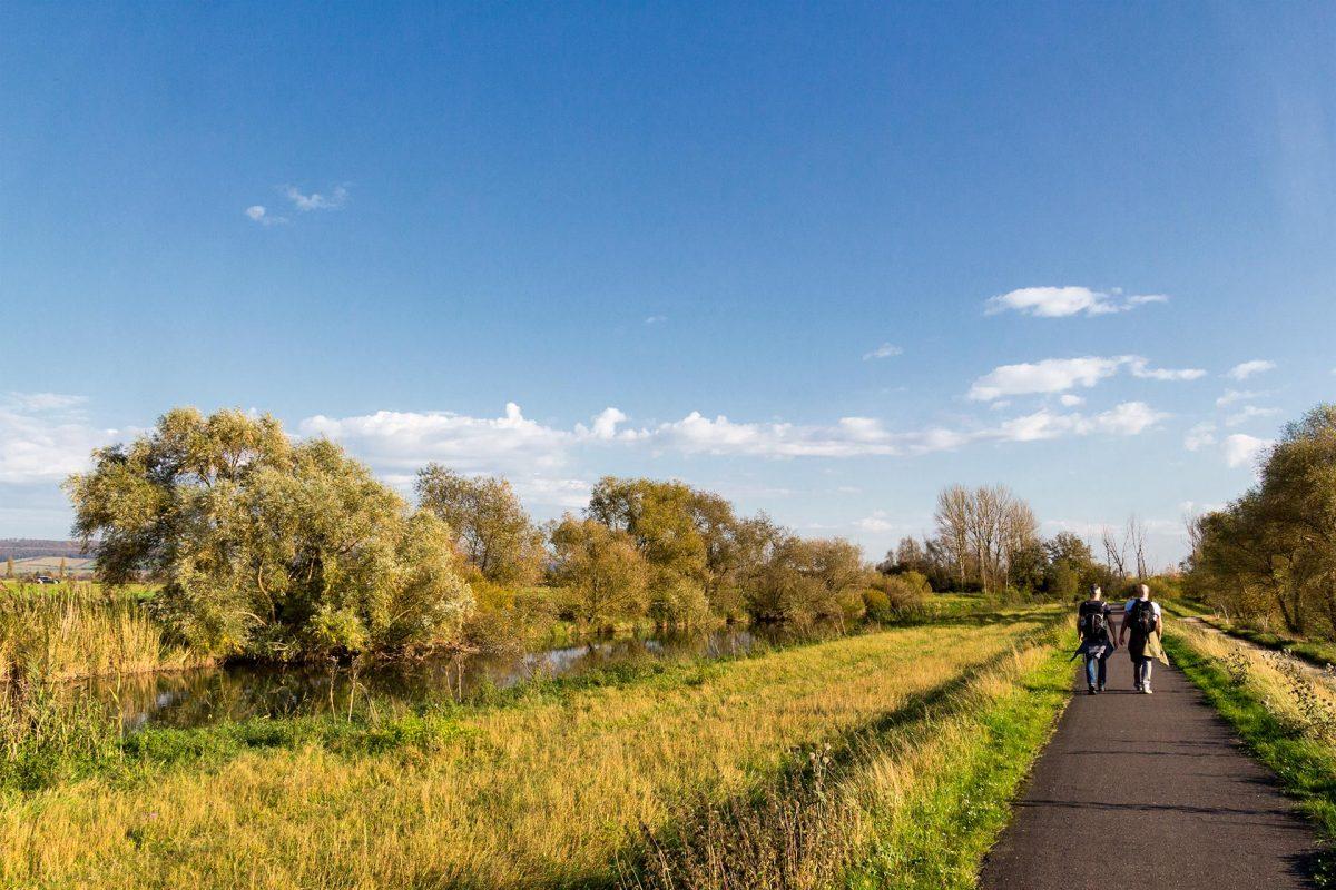 Vorläufig immer entlang des Fahrradwegs direkt an den Ufern der Unstrut